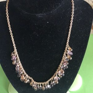Golden purple pink necklace